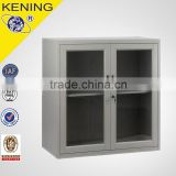 Low price beautiful K-D half height metal glass door storage mini baby bedroom cupboard style