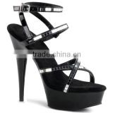 New design Sexy Exotic Shoes Nude Black Everning Dress Shoes Gorgeouys Gladiator Shoe Rhinestone Club Party Shoes