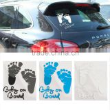 Refective Car Sticker Lovely Letter Baby on Board Baby Footprints Stickers Auto Safety Warning Window Sticker Black White