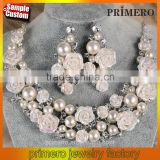 Chain Designs Ceramic Flower Ivory Pearl Crystal Bridal Wedding Jewelry Necklace Earrings Set