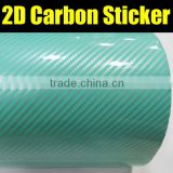 2D glossy carbon fiber self adhesive vinyl film,green car wrapping sticker with air channels