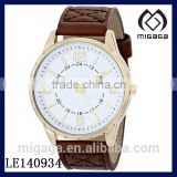 Fashion yellow gold tone coating quartz movement watch for men*brown leather strap gents quartz watch