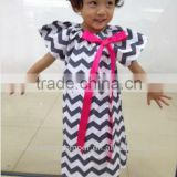 New Arrive 2013 latest fashion chevron print cotton zig zag design with bows for girls