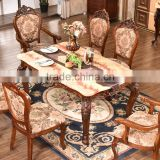 Commercial furniture artificial marble top rectangle pedestal dining table