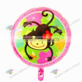 2016 new arrival 18'' round shape foil balloon with lovely monkey on balloon