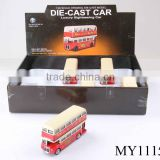 1: 28 die cast double decker bus model with door open sounding double-decker diecast bus with light & music 12pcs/box