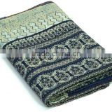 Hand Block Printed Kantha Quilt Vegetable Dye Ajrakh Kantha Throw Indigo Print Ajrakh Bedspread Blanket