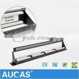 Taiwan Aucas Brand 24 port UTP Blank Patch Panel with back bar 19'' 1U,available for Cat5e or Cat6 Keystone Jacks