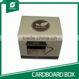 NEW SHAPE BROWN CORRUGATED CARDBOARD PAPER BOX FOR PACKAGING GLASS MUG WITH CLEAR WINDOW