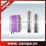 solar pump inverter for solar pumping system with pump and power matched solar array and an inverter