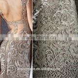 heavy lace fabric Dubai beaded embroidery designs flower lace chemical cord lace fabrics