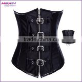 Wholesale S,M,L,XL,XXL Black Long Length Front Zip and Back Tie Full Body Corsets For Women