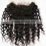 Qingdao Best Quality unprocessed remy wholesale brazilian cheap human hair 4x4 deep wave lace frontal closure