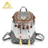 Ethnic Embroidery Girl's Backpack Bag cotton fabric canvas backpack bag Manufacturer china
