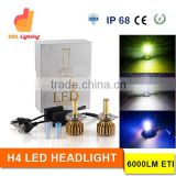 High Power Hi/Lo Beam White Gold Blue Color Teperature Headlight Bulbs H4 Car Led Headlight