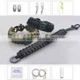 8 in 1 survival gear paracord bracelet compass fishing kit flint fire starter