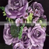 SJ20170025 real touch red wine artificial silk flower rose bud