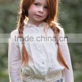Girls lace Collar Blouse Baby Girls Single Breasted Shirt Children lace hem Soft Blouse For Wholesale