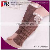 2015 fashion knitted leg warmer wholesale leg warmer with applique flower