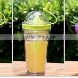 2016 hot sale starbucks coffee cup double plastic cup of lemon juice cut Colorfull fashion Magic juice cup