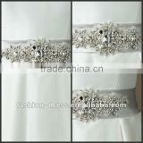 Satn Bias Self Tie Belt With Crystal And Rhinestone Beaded Motif Wedding Dress Accessories