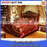 luxury furniture king size bed with carved upholstery headboard made in china