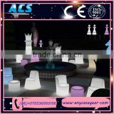 ACS Eco- friendly cheap plastic led light modern furniture dining chair/ table for wedding