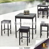 Wholesale good quality black rattan furniture bar set with table and chairs