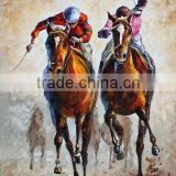 Professional Skilled Artists Hand Paint Two Running Competing Horse Racing Oil Painting for Club Wall Decoration