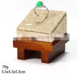 AN157 ANPHY Elegant Single Fiber Board Base Linen Plate Ring Jewelry Stand Holder Display Stock 5.5*5.5*5.3cm 79g
