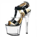Summer Fashion Japanned Leather Open Toe 17cm Platform Sexy Sandals Trend 7 Inch High-Heeled Slippers