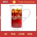 Wholesale decorative double wall heat resistant glass jug