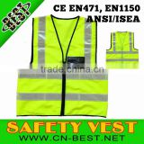 Wholesale 2014 News OEM 100% polyester high quality highway waistcoat with zipper & ID pockets