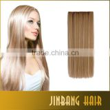 High Quality 55cm 130g Synthetic Full Head Clip In Hair Extension Straight Hairpiece Hair extension
