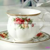 2015 new design England style fine bone china cup and saucer with rose flower