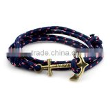 Hot Sale Wholesale fashion unisex nylon nautical rope couple anchor bracelet