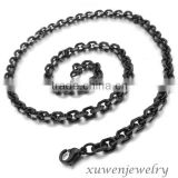 4.3mm wide black tone stainless steel necklace rolo O cable chain