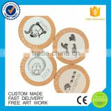 Color printing wholesale wood blank cork coaster coasters with custom logo