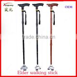 aluminum three-legged adjustable elderly old man folding walking stick with led light for old people