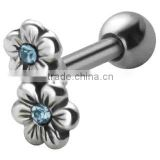 Anti Silver Flower Steel Tragus Ear Stud Bar Piercing Body Jewelry