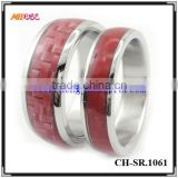 wholesale china factory new design ladies' finger ring titanium ring carbon fiber inlay Wedding Rings