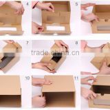 2016 newest and popular design Creative women shoe paper box with pp clear window with drawer type for different size shoes