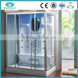 2016 hot design ETL and CE list black acrylic steam shower cabin combo with bathtub for 2 person