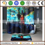 2016 new arrival city life digital printed shower curtain grommet top