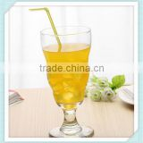 2016 crystal lead free juice glass cup mouth blowing glass juice cup soft drinking glass cup with straw