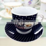 black porcelain ceramic coffee cup and saucer bulk