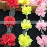 handmade multicolor chiffon tulle flower wholesale chiffon fabric flowers for girl dresses or wedding decoration