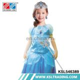 Wholesale blue children princess dress up costumes with crown