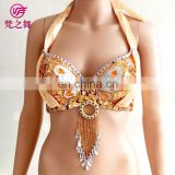 YD-024 Professional satin beaded tassel sexy belly dance sequins bra top