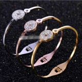 Cool Gold Rose Gold Silver PVD Plating Womens Stainless Steel Bracelet Armbånd Esposas